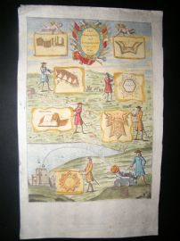 Richard Blome 1686 Hand Col Print. Iconographicall & Scenographicall lines of Fort
